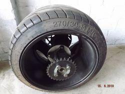 Komplett Hinterrad mit Achslager und Kettenrad Reifen 270/30-14 max. 140 km/h