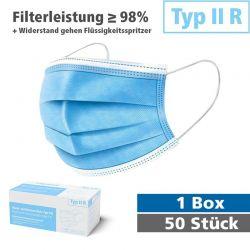 Typ II R  >98% Filterleistung 50er Verpackung Schutzmasken Atemschutzmasken Feinstaub Corona COVID 19 Maske Medizinisch Mundschutz Gesichtsmaske Zertifiziert Qualität Virus